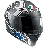 AGV Skyline Psycho Helmet , Distinct Name: White/Gunmetal/Blue, Gender: Mens/Unisex, Helmet Category: Street, Helmet Type: Full-face Helmets, Primary Color: Black, Size: 2XL 1401O2D0007011