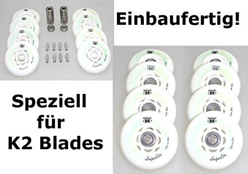 Hyper 8er Set Rollen Inliner Skates K 2 fertig montierte Superlite Rolle 84mm/82a + Lager ABEC7 + Alu-Spacer 6mm
