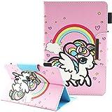 Junhamor Universal-Schutzhülle für Archos 101C Oxygen,Archos Core 101 3G V2 10.1, Archos 97C Platinum 9,7 Zoll Flip Folio Stand Cover (Rainbow Unicorn)
