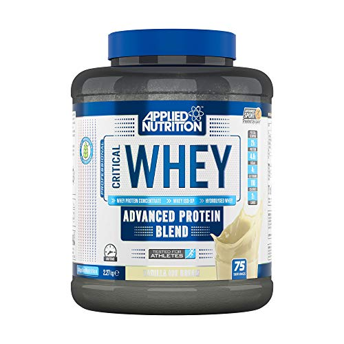 Applied Nutrition Critical Whey Protein Powder Shake, Gold Muscle Building Supplement with Glutamine & High Standard Amino Acids, BCAA 2.27kg - 75 Servings (Vanilla Ice Cream)