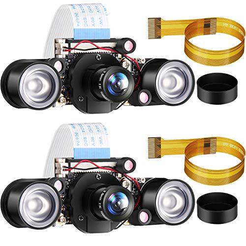 2 Sets for Raspberry PI Camera 1080P Webcam 5MP OV5647 Sensor Day and Night Vision IR-Cut Video Camera Focus Adjustment for Raspberry Pi RPi 4 3 B B+ 2B 3A+ 2 1 Camera
