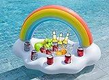 FUNOVA Nube de Arcoíris Hinchable Posavasos colchonetas Flotador Inflable Portavasos Bebida Flotante Ensalada de Fruta Bar de Piscina Accesorios de Fiesta Verano Decoración Niños Adultos