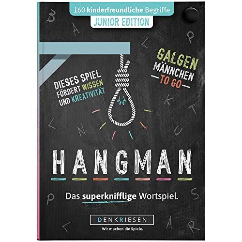 DENKRIESEN - Hangman - JUNIOR Edition - Galgenmännchen to GO | Spielblock | Kinderspiel | Reisespiel | Wichtelgeschenk | Geschenkidee | Rätselblock - Spiel ab 2 Personen