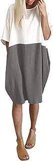 Toponly - Vestido casual suelto de lino con bolsillos, con parches y media manga, con botones, para mujer, Gris, L