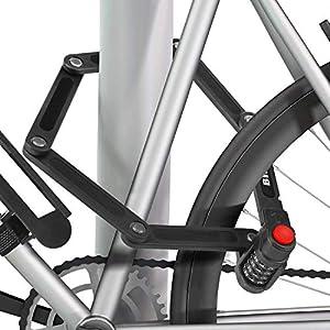BIGLUFU Bicicleta Scooter Cerraduras Plegables para Motocicleta, Cadena Plegable Cerradura Plegable de Acero de aleación Resistente con Soporte de Montaje y 2 Piezas de Velcro Antideslizantes