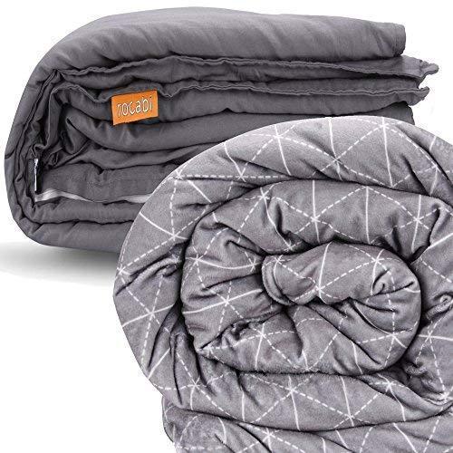 rocabi beschwerte Decke (12,kg / 25 lbs) & Bezug Luxus-Set (152x203,cm) Steppdecke Daunendecke in Queen-Size | abnehmbarer Bezug mit Premium-Glasperlen & weich wie Nerz