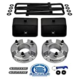 Supreme Suspensions - Full Lift Kit for 2005-2020 Nissan Frontier and 2009-2012 Suzuki Equator 3' Front Strut Spacers + 3' Rear Steel Lift Blocks + Square Bend U-Bolts 2WD 4WD (Silver)