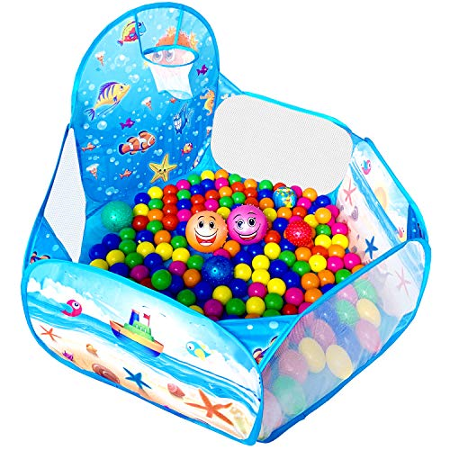 KingBee Ball Pit Pop Up Children Play Tent, Ocean Pool Baby Toddler Playpen with Basketball Hoop - Toys Gifts for Kids Girls Boys 3 4 5 6 Year Old - Balls Not Included (Blue)