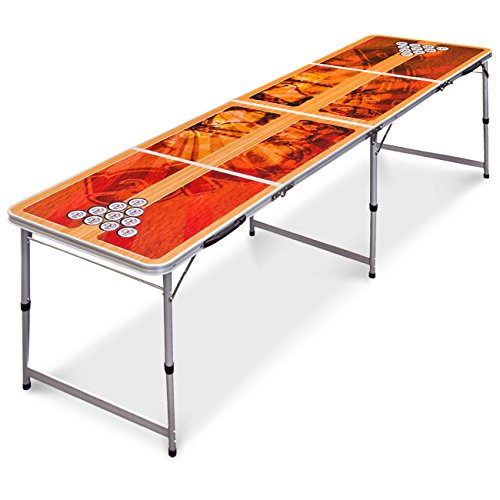 Best Choice Products 8ft Official Tournament Sized Beer Pong Table, Portable and Foldable for Outdoor, Indoor - Brown