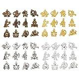 AHANDMAKER 48 piezas 12 colgantes con encanto constelación, 4 colores, 12 constelaciones, símbolo de la suerte, cuentas colgantes para la fabricación artesanal de joyas para bricolaje