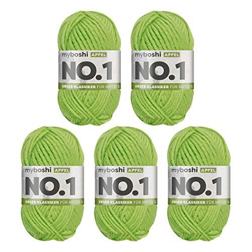 myboshi No.1-Wolle zum Häkeln und Stricken, mit Merinowolle, hochwertiges Schnellstrickgarn, Pflegeleichte, langlebige Mützenwolle, Mulesing-frei, 5 knl x 50gr, Ll 55m Apfel 275m