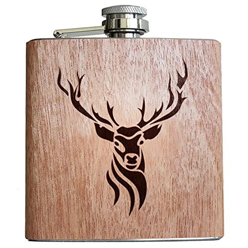 Pixelstudio - Fiaschetta in legno con incisione, motivo cervo, circa 177 ml, ideale come regalo per cacciatori, guardaboschi