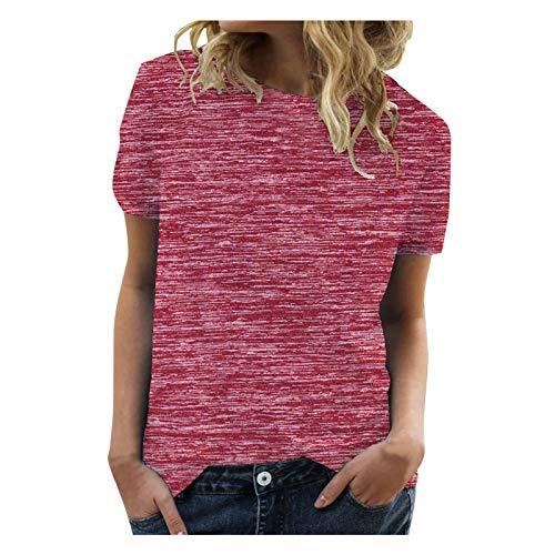 Proumy Oversize T-Shirt Damen Kurzarm Casual Lose Einfarbig Oberteile Tops Sommer Vintage Lässig Rundhals Bluse Tee Shirt (Rot,XXL)