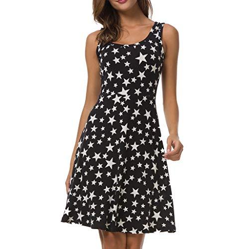 Tyoby Damen Boho Kleid Blumendruckkleid Sommer lässig ärmelloses Kleid Swing Sommerkleid(Schwarz, XL)