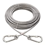 XiaZ 70ft Tie Out for Dogs, Large Dog Runner Cable Up with Locking Carabiner, Up to 250 Pounds, Pet Chain Trolley System for Outside