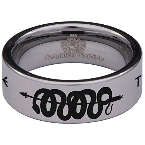 Friends of Irony Anel de cobra de tungstênio de prata de 8 mm, aliança de casamento e anel de aniversário, projetado para uso masculino e feminino tamanho 13