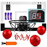 TREYWELL Indoor Mini Basketball Hoop for Kids and Adults, 17'X13' Basketball Set for Door Wall Room with 3 Balls & Electronic Scoreboard - Basketball Toy Gifts for Boys Girls Teens