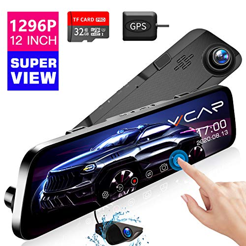 """VVCAR 12"""" Mirror Dash Cam 1296P Backup Camera with GPS Touch Screen Front and Rear View Dual Lens Full HD WDR Night Vision, G-Sensor (Free 32GB SD Card) for Cars/Trucks"""