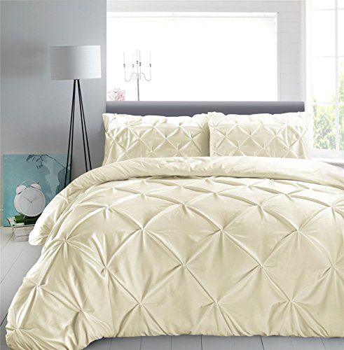 Nimsay Home Hotel Quality Vintage Pintuck Diamond Pinch Pleat Puckering 200 Thread Count 100% Cotton Percale Quilt Cover Bedding Set (Cream, King Duvet Cover Set)