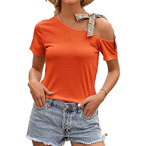 Jersey Informal De Primavera Y Verano para Mujer, Cuello Redondo Suelto, Color SóLido, Correa De Hombro Diagonal, Camiseta De Manga Corta para Mujer