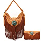 Western Style Fringe Conchos Leather Concealed Carry Purse Country Handbag Women Shoulder Bag Wallet Set (Tan)