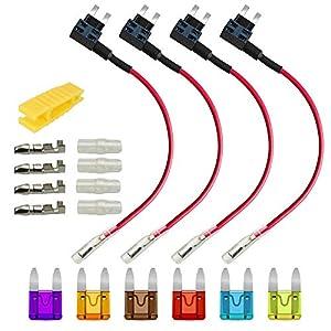 Gebildet 4pcs Pequeña Portafusible con Hilo in-Line, Coche Circuito Cuchilla Estilo Adaptador Cable Fusible, Add-A-Circuit Fusible Titular con 6 Fusibles (3A/5A/7.5A/10A/15A/20A) +1 pc Extractor