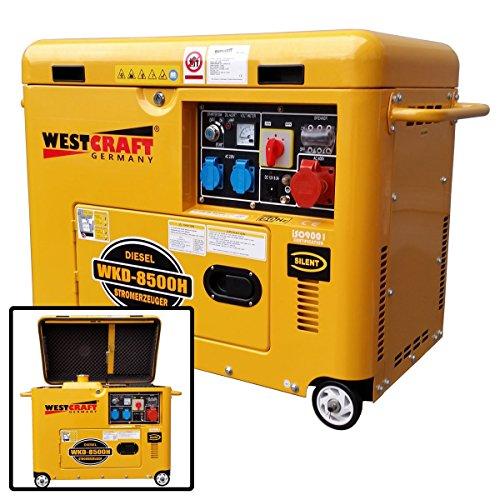 3-Phasen 7,35 KW Dieselmotor Stromerzeuger 5500W schallgedämmt fahrbar Elektrostarter Notstromaggregat Generator