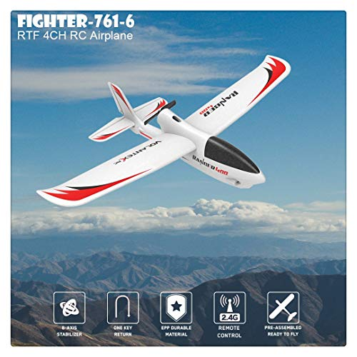 BLACKOBE RC Airplane, EPP Material Remote Control Airplane Glider Aircraft, 761-6 2.4GHz RTF, Ideal Festival Gift for Kids Over 14 Years Old, Beginners, Adults, Experts (761-6 (12.99x15.75in))