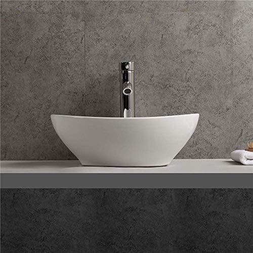 Nero Kleines Keramik Aufsatz Waschbecken oval Gäste WC 40x32cm