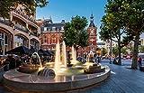 Jiedoud Rompecabezas De Madera para Adultos 1000 Piezas Amsterdam Town Fountain Hotel para Niños Y Adultos Juego De Montaje Personalizado Diversión Decoración del Hogar
