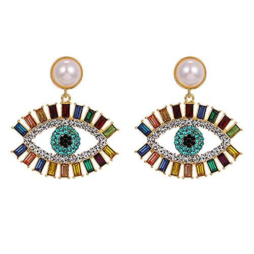 Arete Boho Turquía Color Oro Azul Ojo Malvado Pendientes De Cristal Para Mujer Pendientes De Perlas De Imitación Pendientes De Moda-B