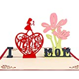 3D Pop Up Tarjetas de felicitación del día de la madre, papel romántico tallado hecho a mano 3D pop-up tarjetas de felicitación del día de la madre