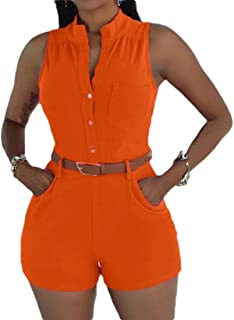 MogogoWomen Sexy Slim Belted Overall Big Pockets Playsuit Shorts Rompers