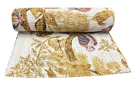 Hippie - Colcha de algodón con estampado de búhos amarillos Kantha de estilo bohemio, colcha hippie individual de algodón kantha, tamaño individual