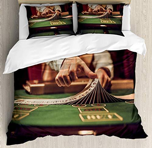 YnimioHOB Poker Bettwäscheset, Casino Croupier Close Up Bild mischen Spielkarten im Spieltisch Kunstdruck, dekorative 3-teilige Bettwäsche mit 2 Kissenbezügen, Mehrfarbig