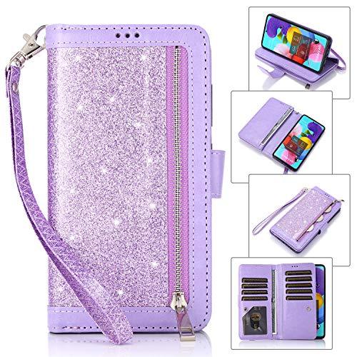 EYZUTAK Geldbörsen Handyhülle für Samsung Galaxy A51, Premium PU Lederhülle Innen Weiche TPU Klapphülle Reißverschluss Brieftasche mit 9 Kartenfächern Standfuntion Magnetverschluss - Lila