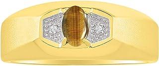 RYLOS anillo de diamante y ojo de tigre hermoso, sencillo, elegante, piedra natal de noviembre