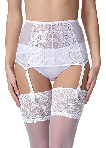 Merry Style Liguero de Encaje Lencería Sexy Ropa Interior Mujer MSKS912 (Blanco, S) (Ropa)
