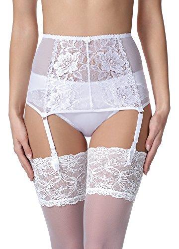 Merry Style Liguero de Encaje Lencería Sexy Ropa Interior Mujer MSKS912 (Blanco, S)