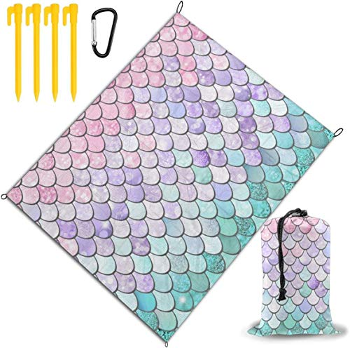 Mermaid Pastel Pink Purple Aqua Teal Printed Beach Blanket,Beach Mat Outdoor Picnic Blanket Water Proof and Drying Mats,Hiking Camping Picnic for Outdoor Travel Handy Mat 3203