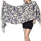 Bokueay Bufanda de moda para mujer Women's Warm Shawl Scarf Fashion Long Shawl Yellow And White Textile Ornament Seamless Vector Large Soft Imitation Cashmere Pashmina Shawls Wraps Light Tassel Scarf