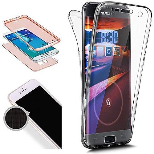 Nadoli 360 Grad Hülle für Samsung Galaxy J4 Plus 2018 Transparent Vorne und Hinten Displayschutz Rückseite Full-Body Einfarbig Farbe Silikon Durchsichtig Handytasche Schutzhülle Schale Case Etui