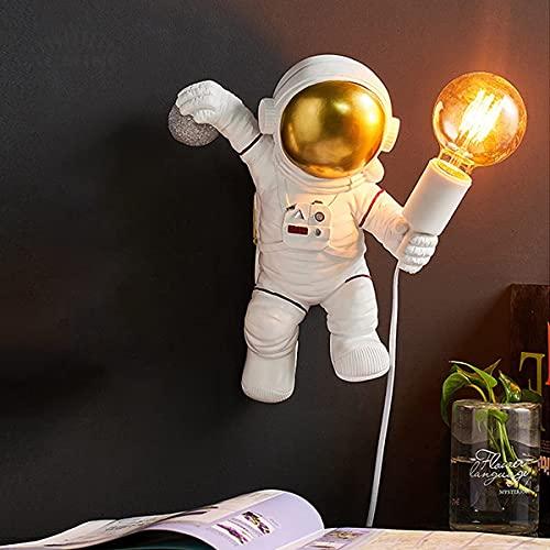 Lámpara de mesa astronauta, lámpara de pared para dormitorio niños, lámpara de noche Astronauta figurilla decorativa lámpara de noche resina escritorio lectura lámpara arte decoración adorno,A