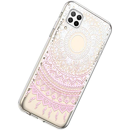 Herbests Kompatibel mit Huawei P40 Lite Hülle Silikon Weich TPU Handyhülle Durchsichtige Schutzhülle Niedlich Muster Transparent Ultradünn Kristall Klar Handyhülle,Mandala