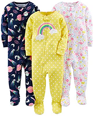 Simple Joys by Carter's Baby Girls' 3-Pack Snug-Fit Footed Cotton Pajamas, Dinosaur, Space, Rainbow, 6-9 Months from Carter's Simple Joys - Private Label