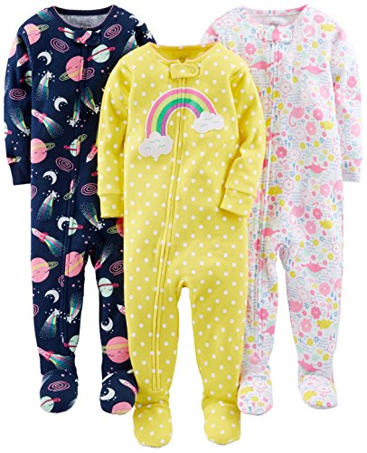 Simple Joys by Carter's Baby Girls' 3-Pack Snug-Fit Footed Cotton Pajamas, Dinosaur, Space, Rainbow, 12 Months