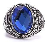 Epinki Herren Ringe, 316L Edelstahl Oval Form Bandring mit Zirkonia Blau Saphir Herrenring Ring Gr.65 (20.7)