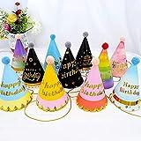 11 piezas Gorros Fiesta Sombrero ,Forma Cónica con Poms,Decoraciones de papel de fiesta ,para decoraciones para fiestas de cumpleaños, accesorios para fotos.