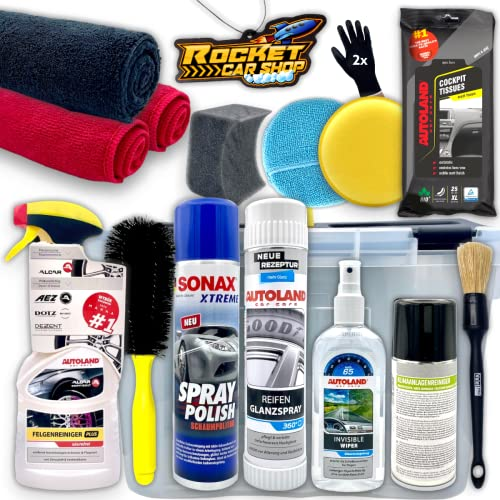Autopflege Set: Rocket Performance Box 17-teilig - Autoreinigungs- und Pflegeset für außen und innen Autoduft: Bubble Gum