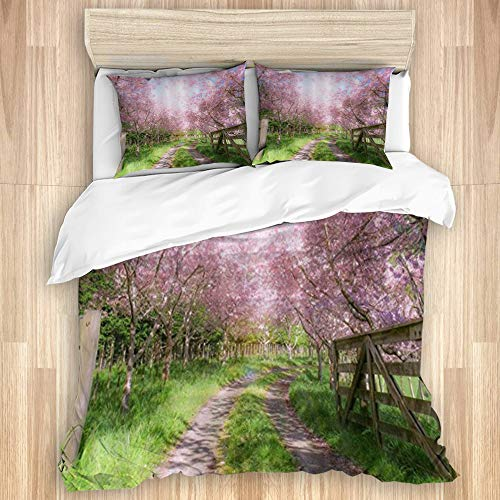 Aliciga Bedding Sheet-Duvet Cover Set,Pink Flower Tree Park Trail,Microfibre 135x200 with 2 Pillowcases 80x50,Single